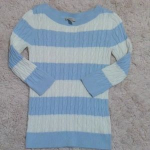 Pastel Blue Cable Knit Ann Taylor Loft Sweater M